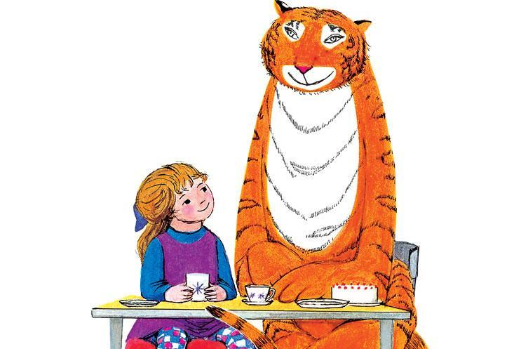 Illustration of a little girl and a tiger sitting at a table having tea.