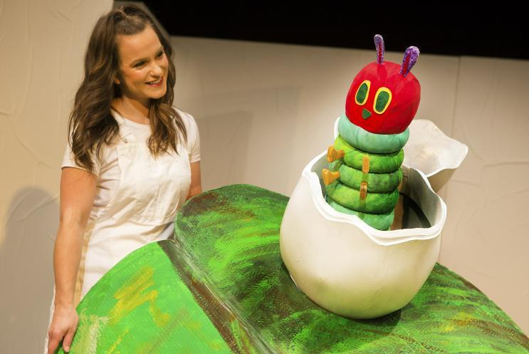 Hungry Caterpillar puppet on leaf