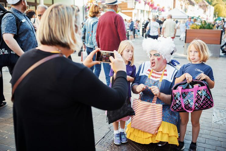 Panto Dame taking photos in Winchester