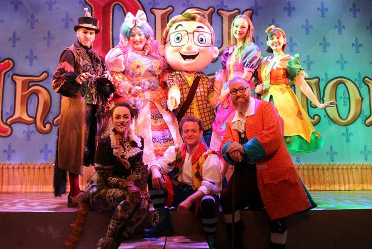 Harry Hampshire with the panto cast