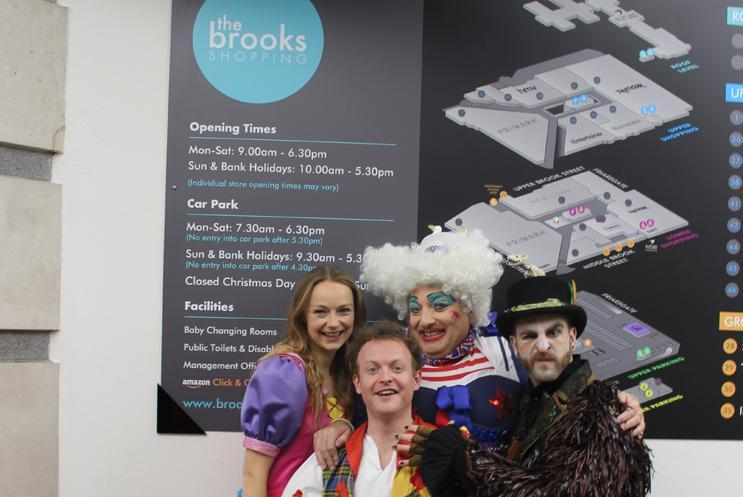 Panto cast at The Brooks Shopping Centre