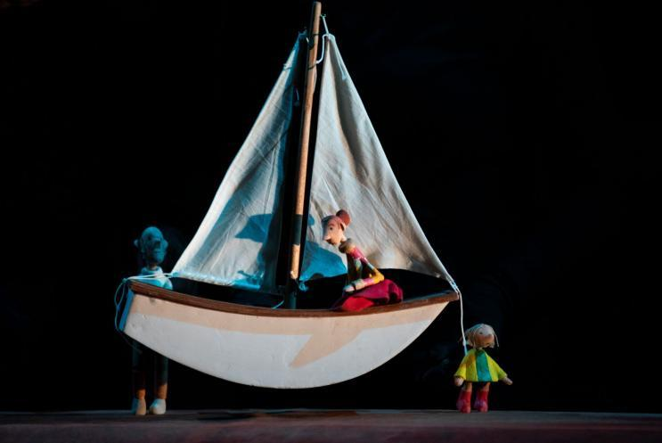 Puppet boat on stage
